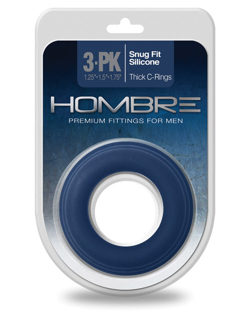 Hombre Snug Fit Silicone Thick C Rings - Navy Pack Of 3
