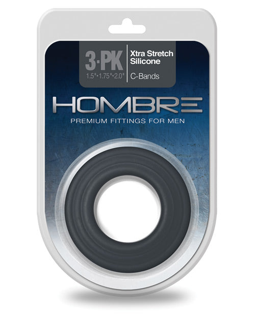 Hombre Xtra Stretch Silicone C Bands - Charcoal Pack Of 3