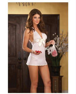Chiffon Halter Babydoll W/satin Bow, Thong & Keepsake Purse W/red Rose Petals White O/s
