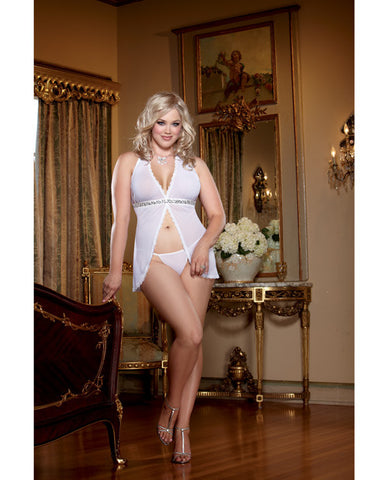 Sheer Mesh Open Front Babydoll W/sequin Trim & Matching Thong White Qn