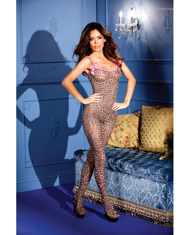 Leopard Print Crotchless Bodystocking W/bows Leopard O/s