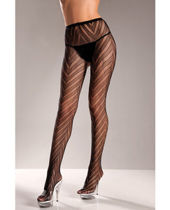 Designed Chevron Pattern Lycra Lace Pantyhose Black O-s