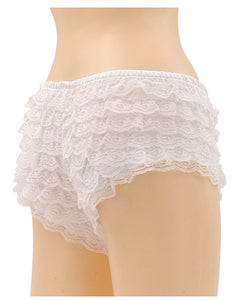 Be Wicked Ruffle Hot Pants White Large
