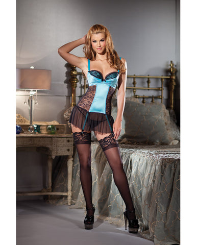 Satin & Lace Cami Suspender W/hook & Eye Closure & Removable Garter Straps Aqua Xl