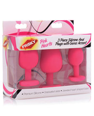 Pink Hearts 3pc Silicone Anal Plugs W-gems