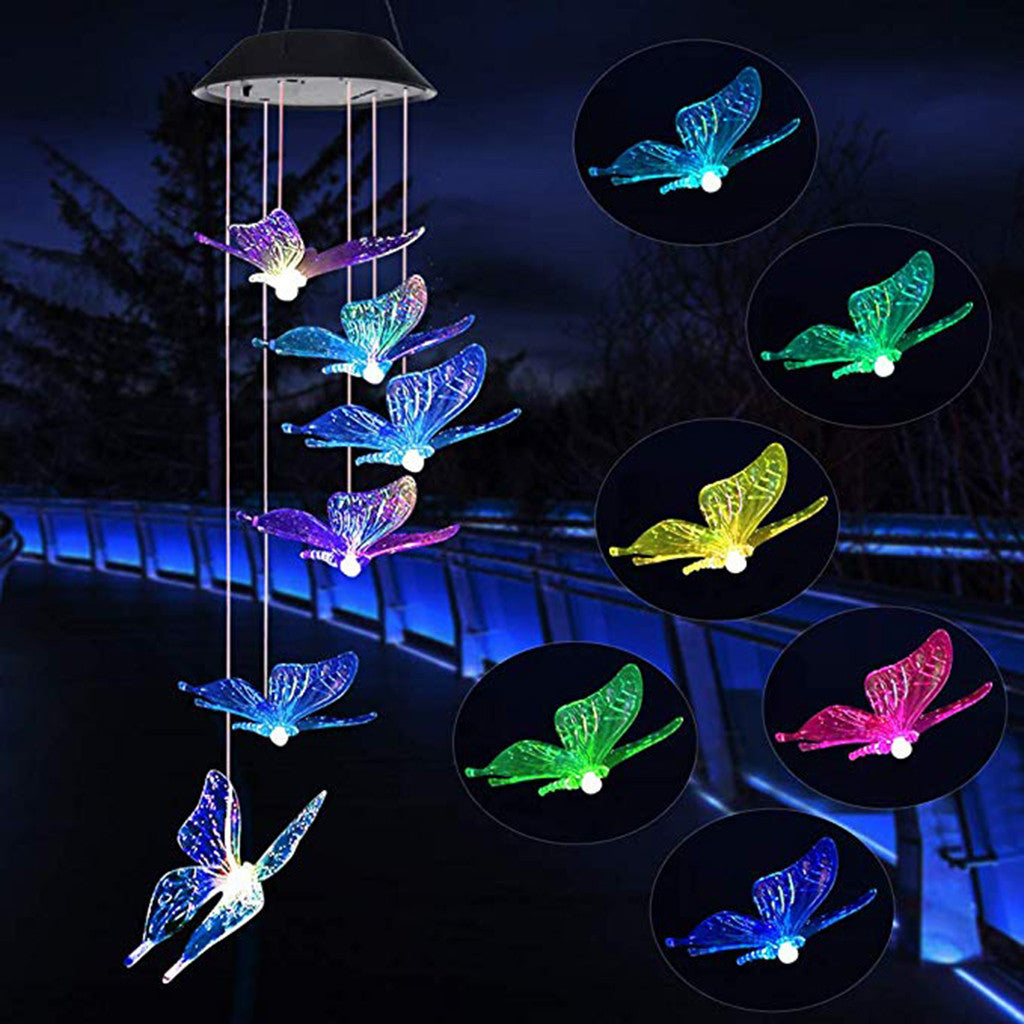 LED Solar Powered Butterfly Wind Chimes Light Home Garden Hanging Lamp Decor Colorful Transparent Wind Chime Light hot
