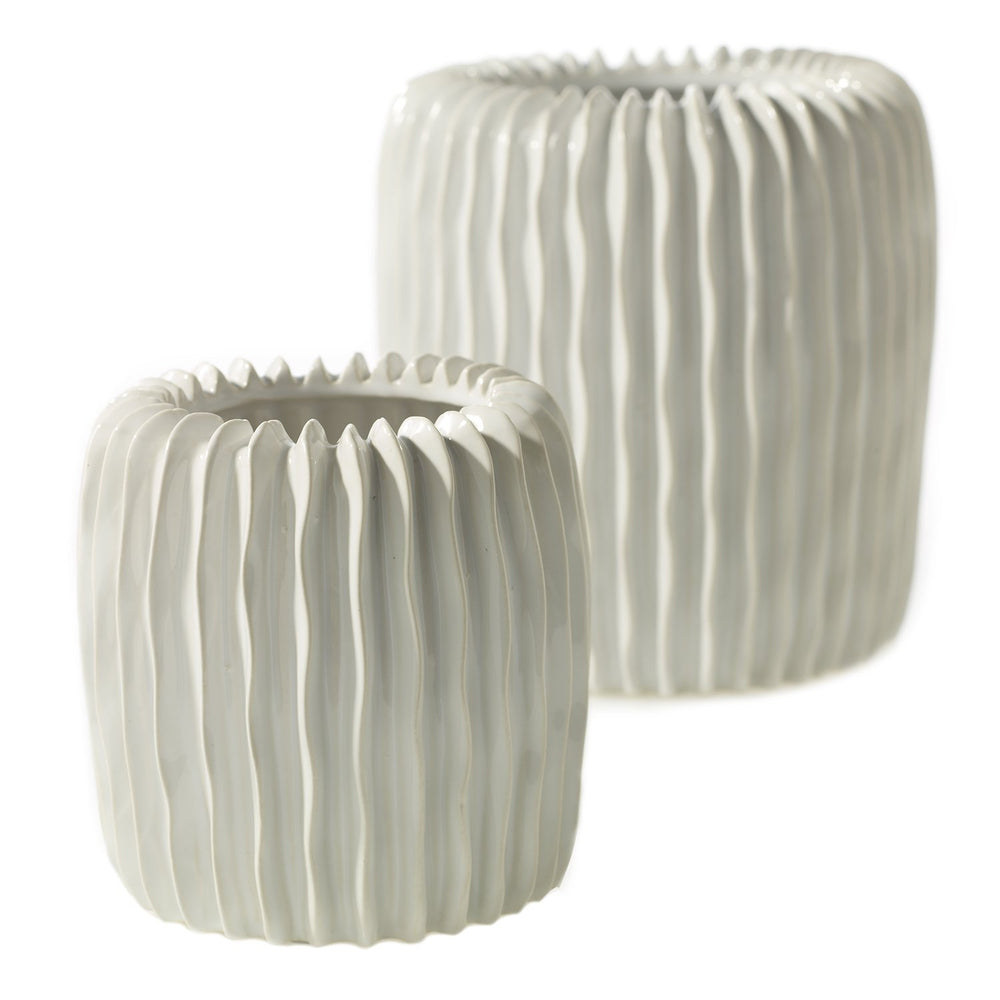 White Vertical Lined Textured Vase