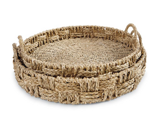 Sea Grass Tray Round Large Tan