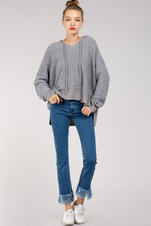 Nubby Popcorn Hooded Sweater