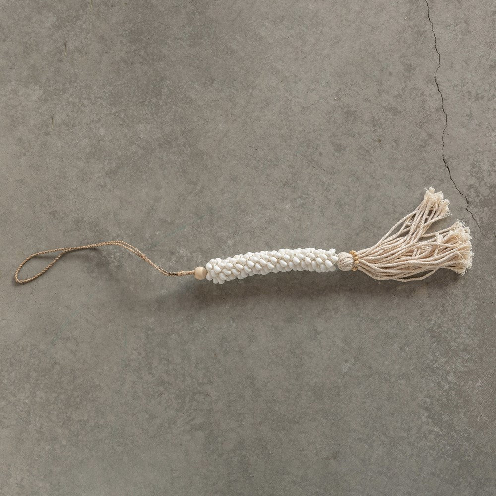 Rope Tassel with Shells & Wood Beads