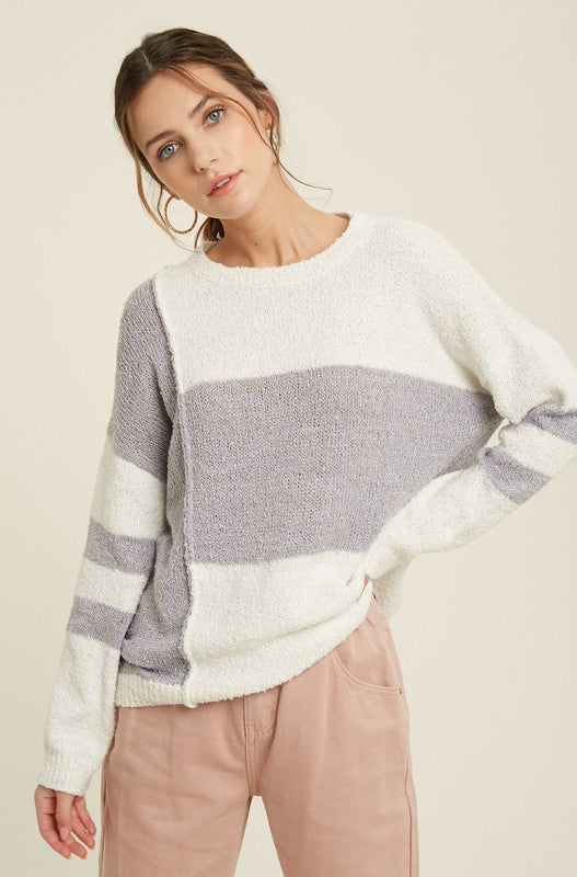 Colorblock Textured Sweater
