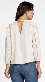 Star Print Blouse with Smocked Shoulder