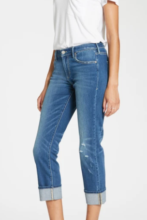 Cuffed Slim Straight High Rise Jeans