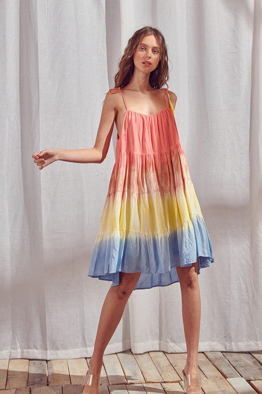 Tie Dye Color Block Swing Mini Dress