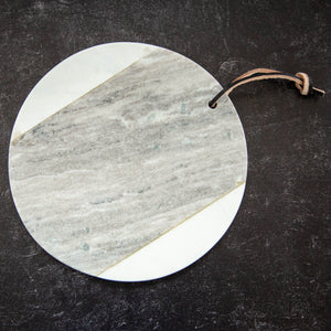 Marble Cheese Board Grey/White with Leather Tie