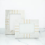 "White Marble Frame with Brass Inlay 4""x6"""