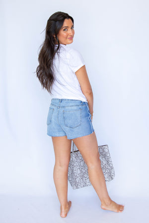 High Rise Cutoff Shorts with White Piping