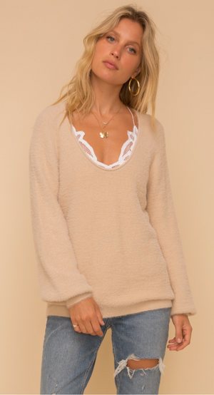 Load image into Gallery viewer, Eyelash Round Neck Sweater - Almond
