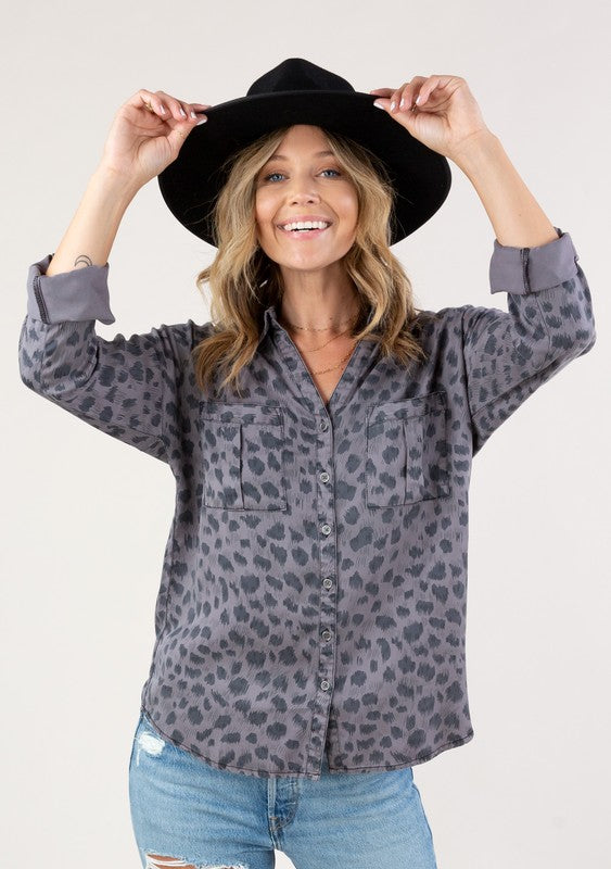 Leopard Button Up Rolled Sleeve Top