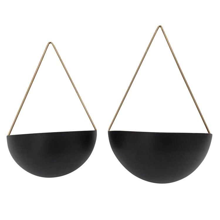 Black Half Moon Hanging Planters