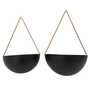 Load image into Gallery viewer, Black Half Moon Hanging Planters
