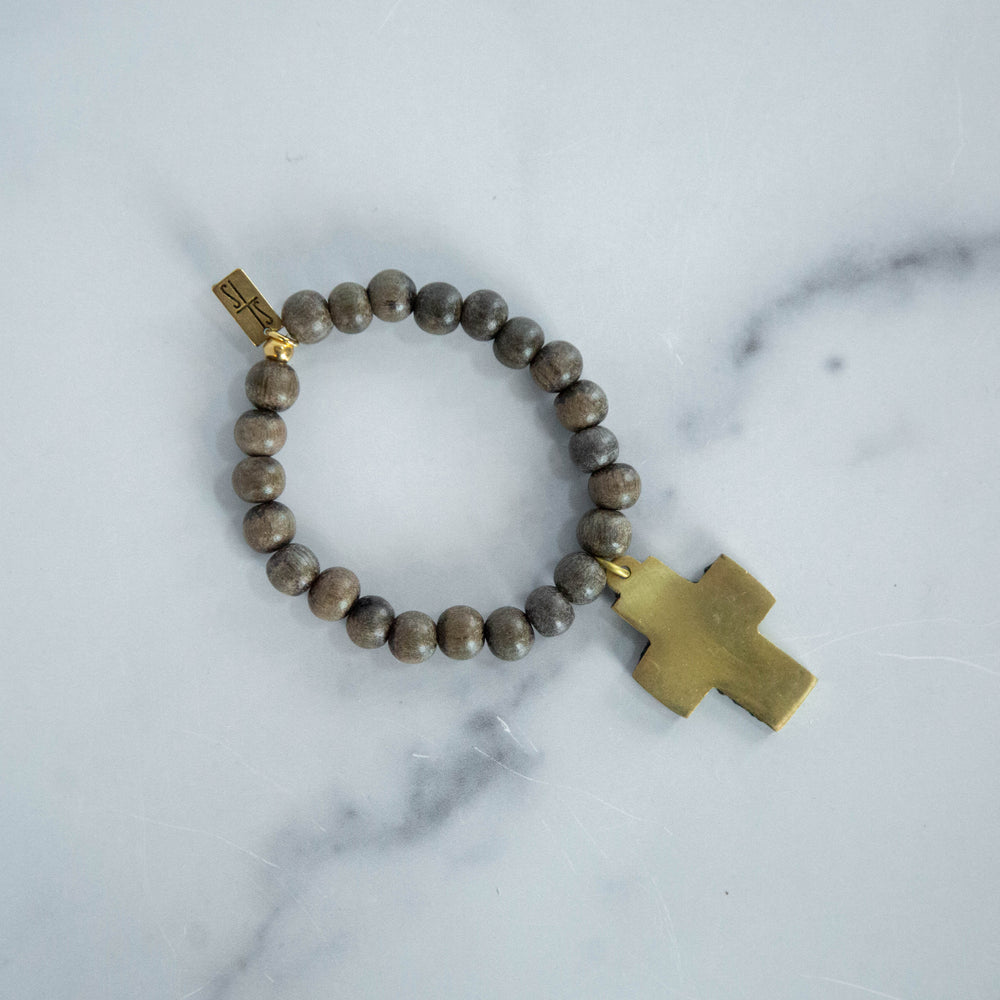 Load image into Gallery viewer, Beaded Bracelet with Cross, Grey