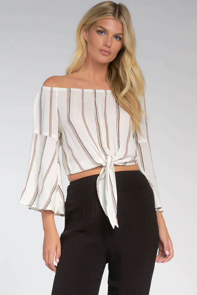 Off The Shoulder Front Tie Top