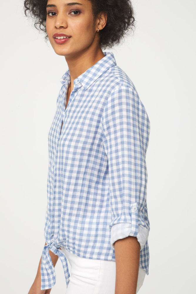 Blue and White Plaid Button Up