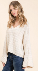 Rolled Sleeve Textured Knit Sweater