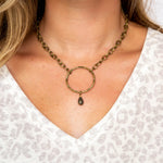 Brass Necklace with Stone Detail