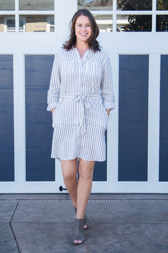 Load image into Gallery viewer, Navy & White Striped Dress