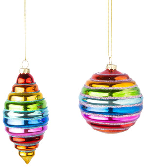 Round Ribbed Rainbow Glass Ornament