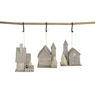 Paper House Ornament with Fence