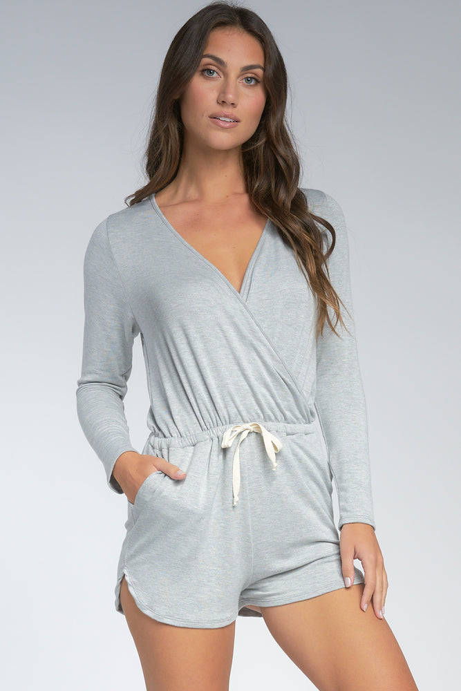 Long Sleeve V Neck Romper