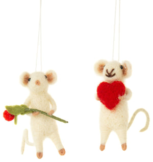 Mini Felt Mice Ornament - Heart