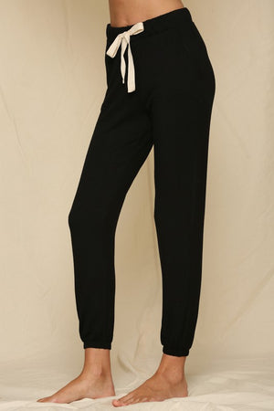 Front Tie Knit Brush Joggers