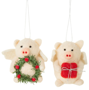 Felt Christmas Pig Angel with Wreath Ornament