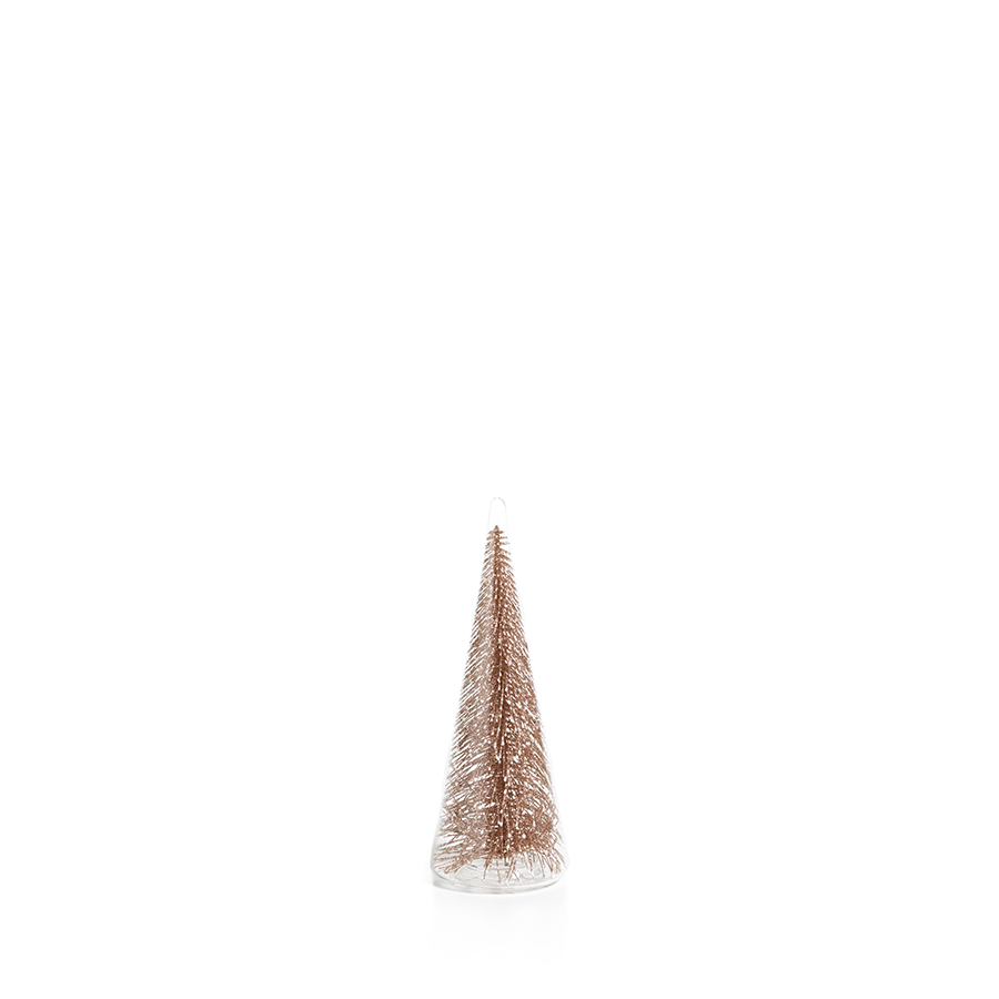Glass Tree with Champagne Glitter - Small