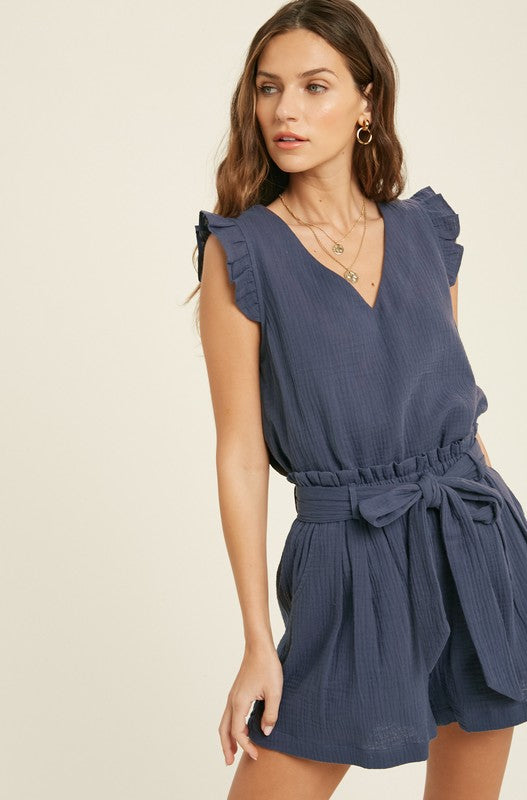 Casual Gauze V Neck Top with Ruffle Sleeves