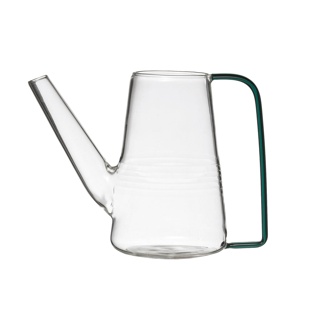 Glass Watering Can with Green Handle