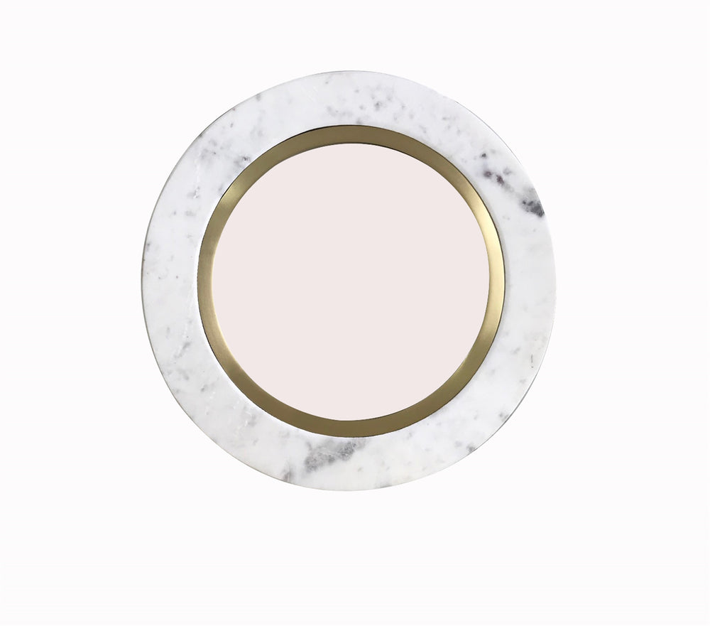 Load image into Gallery viewer, Round Marble & Brass Mirror