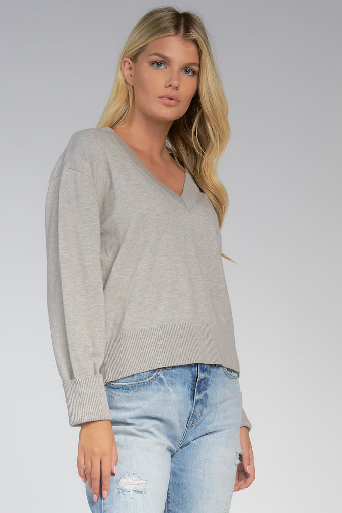 V Neck Sweater Ribbed Hem