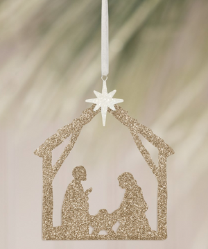 Load image into Gallery viewer, Glitter Nativity Silhouette Ornament