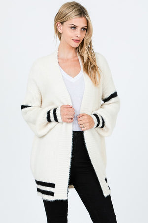 Wool Cardigan with Strip Contrast