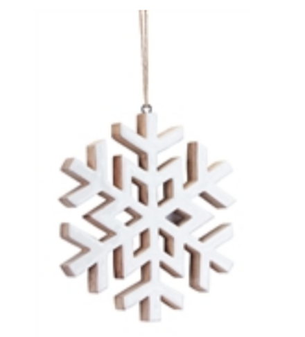 Wood and White Gloss Ornament