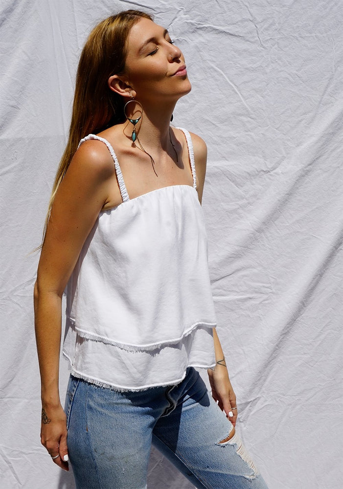 Load image into Gallery viewer, Scrunchy Strap White Tank by Bella Dahl