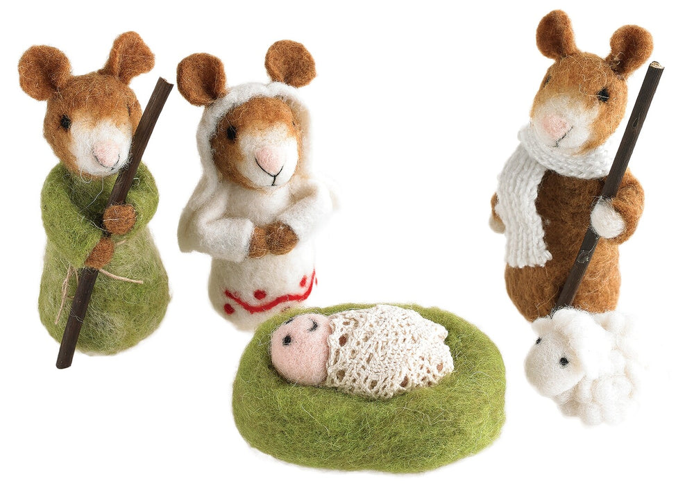 Load image into Gallery viewer, Felt Mouse Nativity Set of Five