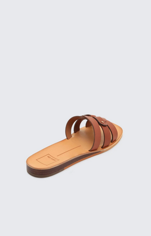 Leather Slide On Sandals - Brown