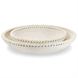 Load image into Gallery viewer, Nested Beaded Bowl Whitewash Large