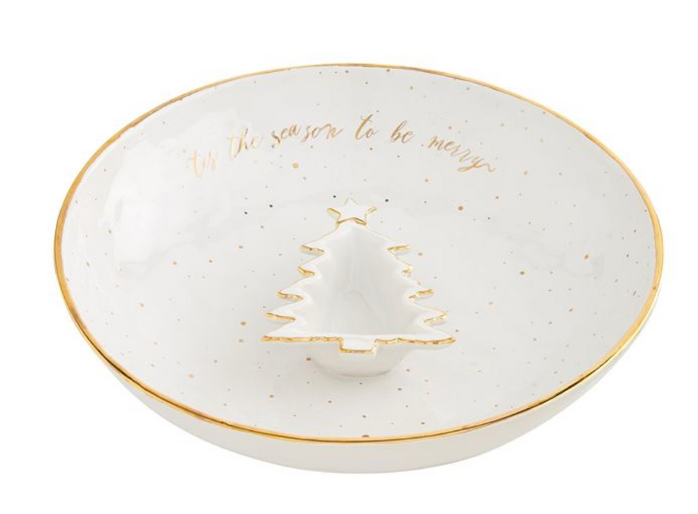Load image into Gallery viewer, Gold Splatter Tree Chip & Dip Set